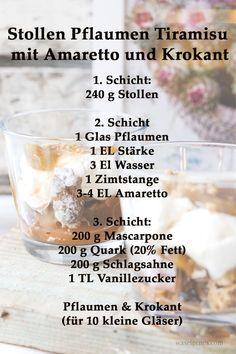 Rezept: Stollen Pflaumen Tiramisu mit Amaretto & Krokant | Weihnachtsdessert / Winterdessert Stollen, Christmas Desserts, Tiramisu, Deserts, Food And Drink, Xmas, Drinks, Blog, Sweet Desserts