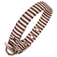 Brown Stripe Fabric Dog Collar