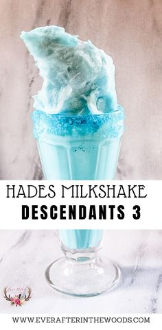 Descendants 3 is now available on the Disney Channel. This Descendants 3 Hades- inspired milk shake will be the perfect addition to a Descendants party. Birthday Desserts, Cute Desserts, Summer Desserts, Dessert Recipes, Disney Drinks, Disney Food, Disney Parties, Disney Recipes, Descendants Cake