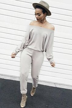 Fashion Solid Color Off Shoulder Jumpsuit gray m Source by casual Black Women Fashion, Look Fashion, Girl Fashion, Autumn Fashion, Fashion Outfits, Womens Fashion, Fashion Trends, Ladies Fashion, Fashion Ideas