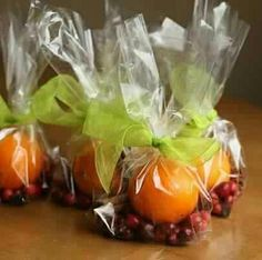 Stove top Potpourri Gift:  1 orange  1tbsp whole cloves  1/2c cranberries  3 sticks of cinnamon  grated nutmeg  INSTRUCTION TAG: quarter the orange, place all in a small saucepan filled with water and simmer ♥