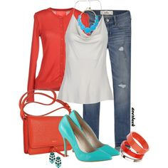 """""""Turquoise with Coral"""" by averbeek on Polyvore"""