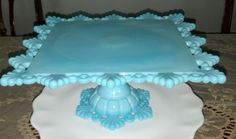 Westmoreland Blue Milk Glass Ring Petal Footed CAKE STAND CAKE PLATE STUNNING !!