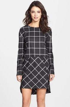 'Fast Ciao' Check Long Sleeve Shift Dress