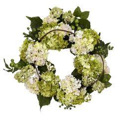Nearly Natural 22 in. Hydrangea Wreath