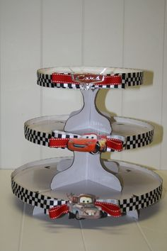 Cars dessert stand - no longer for sale, but pretty sure I can make this for Aiden if he has a Cars party this year.