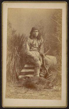 """""""Apache man - circa 1885 (Note the stuffed Beaver at his feet.)"""""""