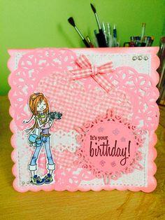 Girl's birthday card, scrapberry stamp Girl Birthday Cards, I Card, Stamp, Sugar, Stamps