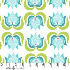 modern lotus in sky, lush line, patty young, michael miller, 1 yard $8.75 - etsy shop fabriccloset