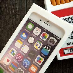 Coque moschino insolite porte-cigarette 3D à la mode blanc d'iPhone 6s 6s plus acheter sur lelinker.fr