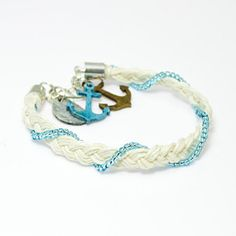Sailor's Knot  weaved braid toho summer charm anchor by PanKos, $25.90