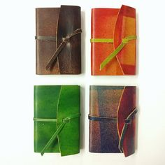 mini real leather wrap notebooks, handmade in Cork, Ireland. The leather is also hand dyed in our workshop.