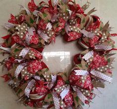 "Huge 40"" Burlap and Ribbon Christmas Winter Wreath by JandJPrettyThings on Etsy"