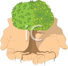 iCLIPART - Royalty Free Clipart Image of a Tree in a Man's Hands