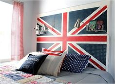 Union Jack painted pegbard headboard by Our Fifth House...would also make an awesome party display board