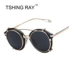 4eefd742439 New Vintage Steampunk Clip on Sunglasses Men Women Hip Hop Round Sun Glasses  Retro Steam Punk