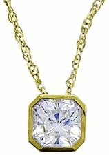 Ziamond Cubic Zirconia Princess Cut Square Bezel Solitaire CZ Pendant 14K Yellow Gold. The Princess Cut Square Bezel Solitaire Pendants are available in a variety of carat sizes & in your choice of 14k white gold or 14k yellow gold. #ziamond #cubiczirconia #cz #solitaire #classic #pendant #diamond #jewelry #necklace #14kgold #princesscut #bezel #square