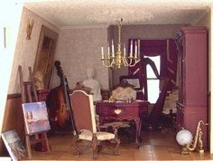 Miniature Music Room---------------Dollhouse Decorating | Accessorizing Music and Sewing Rooms, Offices and Libraries | http://dollhousedecoratingblog.com