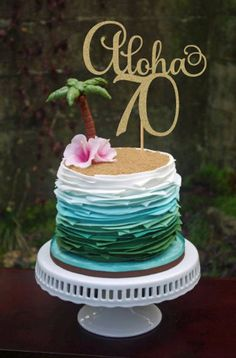 Check out this super fun tropical cake. We love it for a Disney inspired Moana themed birthday party! Check out this super fun tropical cake. We love it for a Disney inspired Moana themed birthday party! Luau Cakes, Beach Cakes, Beach Themed Cakes, Pool Party Cakes, Ocean Cakes, Cake Party, Pool Parties, Summer Parties, Tea Parties