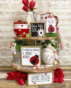 Ladybug decor white black & red tiered tray set Mix and image 5 Seasonal Decor, Fall Decor, My Funny Valentine, Valentines, Gingerbread Christmas Decor, Tray Styling, Tiered Stand, Farmhouse Style Decorating, Valentine Decorations