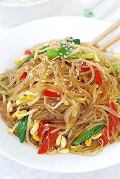 I really think you will love this simple variation of japchae made with soybean sprouts (kongnamul, 콩나물)! Japchae (잡채) is a Korean dish made with Heart Healthy Recipes, Veggie Recipes, Asian Recipes, New Recipes, Real Food Recipes, Vegetarian Recipes, Cooking Recipes, Ethnic Recipes, Noodle Recipes
