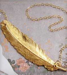 Feather Necklace with Gold Chain