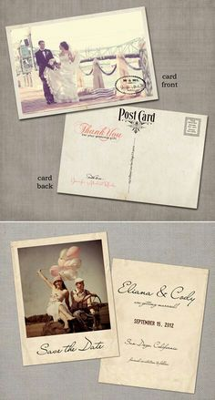 Wedding invitation - though really like the use of photography with vintage style.