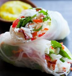 Salad_Rolls with Crab  http://www.laurabrussell.com/salad-rolls-with-crab-and-spicy-mango-sauce/