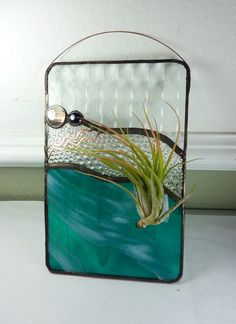 Stained Glass Panel Air Plant Holder  Aquarius by glassetc on Etsy
