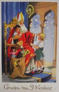 Oud-Hollandse ansichtkaart : Groeten van St Nicolaas