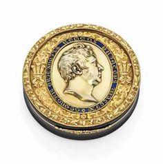 A REGENCY PARCEL-ENAMELLED GOLD-LINED TORTOISESHELL PRESENTATION SNUFF-BOX  LONDON, CIRCA 1810/1820,