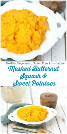 Loved them better than regular mashed potatoes! Healthy Mashed Butternut Squash and Sweet Potatoes - Low Calorie, Low Fat, Delicious Side Dish Recipe for Dinner Healthy Mashed Potatoes, Sweet Potato Recipes Healthy, Best Vegetable Recipes, Mashed Sweet Potatoes, Vegetarian Recipes, Cooking Recipes, Healthy Recipes, Roasted Potatoes, Healthy Food