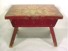 4025: Antique Country Hand Painted Red Stool : Lot 4025