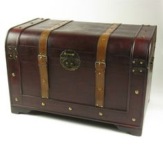 "Vintage Style Wooden ""Olde Worlde"" Treasure Chest Steamer Trunk"
