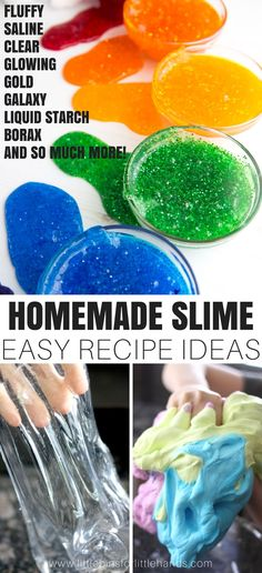 The BEST EVER Homemade Slime Recipe Ideas to make with kids. We show you how to make slime in so many cool ways including fluffy slime, glowing slime, saline solution slime, liquid starch slime, galaxy slime, crystal clear slime, and so much more. We have slime making videos too! Learn how easy it is to make slime with your kids. It's our slime mission to help you make the best slime ever, anytime of the year.