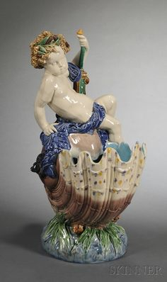 Minton Majolica Compote of a Boy on a Shell, England, c. 1873
