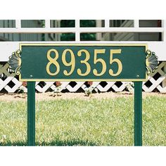 Whitehall Shell Horizontal 1-line Estate Lawn Plaque Dark Green/Silver Letters