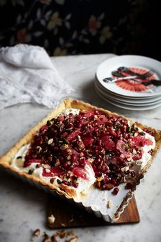 Blood Orange & Pomegranate Tart #recipe