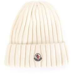 Moncler ribbed knit beanie ($170) ❤ liked on Polyvore featuring accessories, hats, ivory, patch hat, ribbed knit beanie, ribbed knit hat, moncler beanie and beanie hats