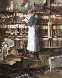 """6,434 Likes, 30 Comments - The Corseted Beauty (@the_corsetedbeauty) on Instagram: """"""""Library Interior with Maid Reading"""" by Édouard John Mentha, ca. 1915 """""""