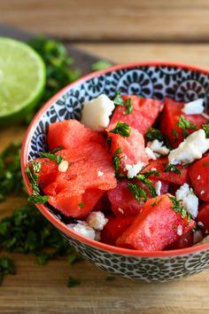 Watermelon Feta Salad recipe-Alice Currah via PBS Food - watermelon/feta/red onion/fresh mint/lime Watermelon Feta Salad Recipes, Watermelon And Feta, Summer Salad Recipes, Fruit Recipes, Summer Salads, Cooking Recipes, Healthy Recipes, Mint Salad, Pbs Food