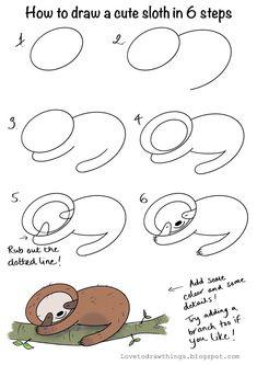 Cute Easy Drawings, Art Drawings For Kids, Doodle Drawings, Drawing For Kids, Art For Kids, Easy Animal Drawings, Drawing Lessons, Art Lessons, Sloth Drawing