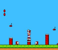 Glitch from Super Mario Bros. 2. If you throw an enemy at another enemy that's recently been thrown and is still upside-down, they will both fly upward.