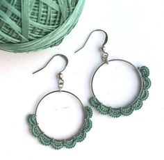 ~unique lace jewelry handmade from fine cotton thread~ by LacyTreasures Lace Jewelry, Simple Jewelry, Modern Jewelry, Jewelry Gifts, Jewelry Art, Crochet Earrings Pattern, Crochet Jewelry Patterns, Crochet Accessories, Thin Hoop Earrings