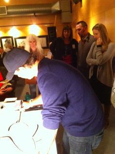 Wyland creating sumi brush art in front of us! #mywatergallery