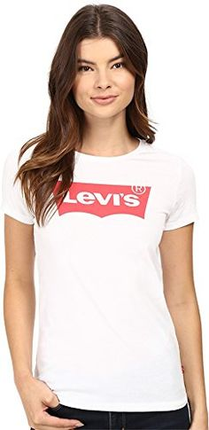 b5f350b46362 Levis Womens Slim Crew Neck Tee Shirt Core Batwing White 100 Cotton Small  *** Read more at the image link.Note:It is affiliate link to Amazon. #us