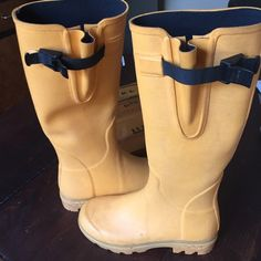 Rainboots to the knee Yellow/orange to the knee rubber rain boot Le Chameau Shoes Winter & Rain Boots