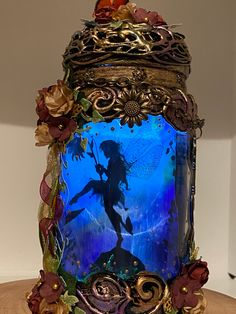 Excited to share this item from my #etsy shop: Handmade silhouette 8 inch beautiful fairy jar . T Lights, String Lights, Fairy Jars, Power Colors, Color Changing Lights, Beautiful Fairies, Color Change, Snow Globes, Bronze