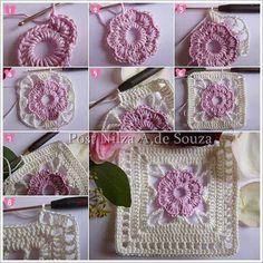 Crochet world magazine Crochet Flower Squares, Crochet Square Blanket, Granny Square Crochet Pattern, Crochet Blocks, Crochet Flowers, Crochet Granny, Crochet Motif Patterns, Crochet Bedspread, Crochet Projects