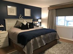 Navy Blue feature wall Master bedroom makeover and loving it! Navy Blue feature wall Master bedroom makeover and loving it! Blue Feature Wall Bedroom, Navy Bedroom Walls, Navy Master Bedroom, Bedroom Wall Colors, Master Bedroom Makeover, Bedroom Color Schemes, Master Bedroom Design, Home Decor Bedroom, Navy Blue Bedrooms